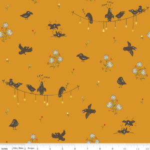 """Calico Crow"" Crowded Orange by Lauren Nash for Penny Rose"
