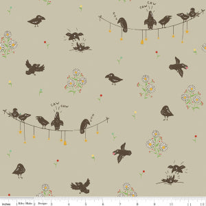 """Calico Crow"" Crowded Taupe by Lauren Nash for Penny Rose"
