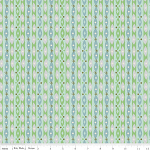 """Way Up North"" Stripe Mint by Jill Howarth for Riley Blake"