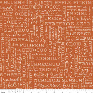 """Autumn Love""-  Autumn Love Text Orange by Lori Holt of Bee in My Bonnet for Riley Blake"