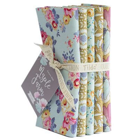 """Maple Farm & Tiny Farm""- Dijon Teal Fat Quarter Bundle"