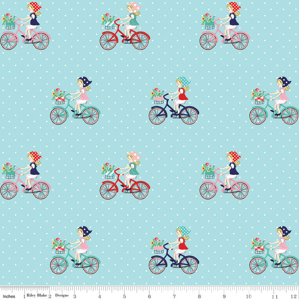 """Vintage Market"" Vintage Bike Ride Aqua by Tasha Noel for Riley Blake"
