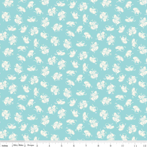 """Toy Chest""- Baby Shoes Aqua Blue for Penny Rose Fabrics"