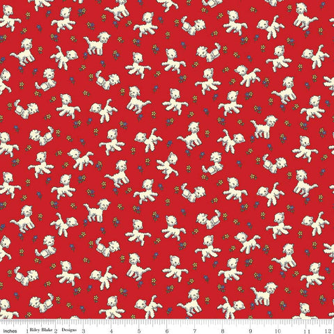 """Toy Chest""- Little Lambs Red for Penny Rose Fabrics"