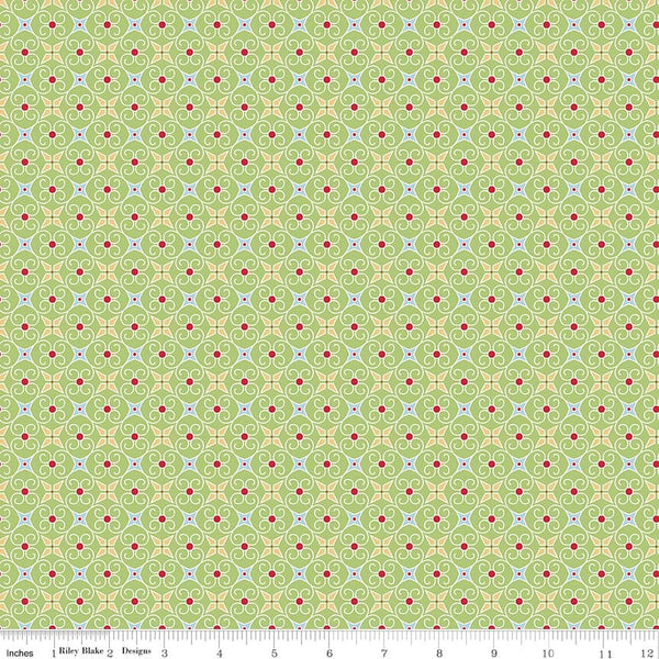 """Cozy Christmas"" Cozy Wrapping Paper Green by Lori Holt of Bee in My Bonnet for Riley Blake"