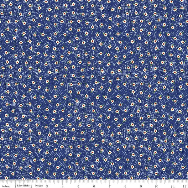 """Toy Chest 2""-Toy Daisy Blue for Penny Rose Fabrics"