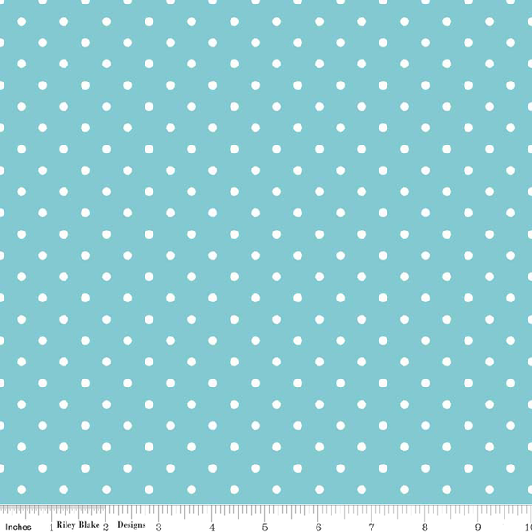 White Swiss Dot on Aqua for Riley Blake