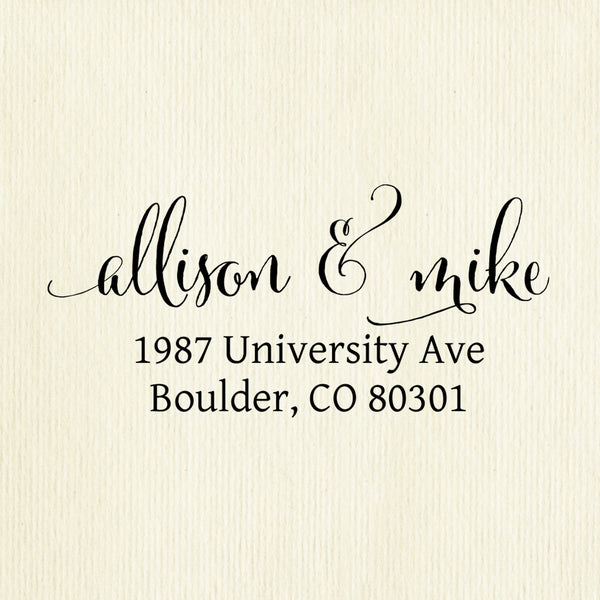 "Custom Self-Inking Address Stamp ""Allison & Mike"""
