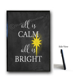 Holiday Wood Sign -  All Is Calm All is Bright, Christmas 5x7 wood sign with stand