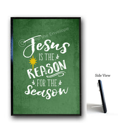 Holiday Wood Sign - Jesus is the Reason for the Season, 5x7 wood plaque with stand