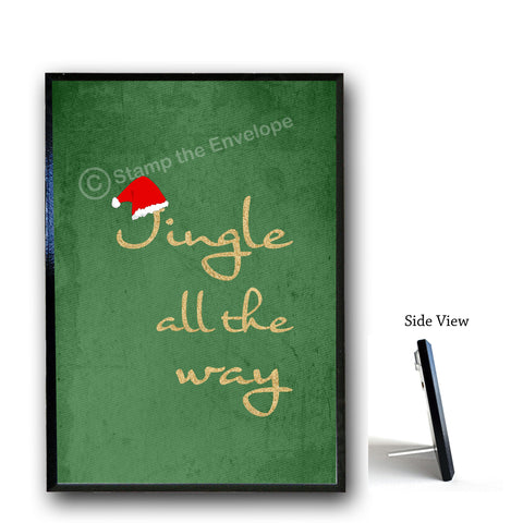 Holiday Wood Sign - Jingle All The Way, 5x7 plaque with stand