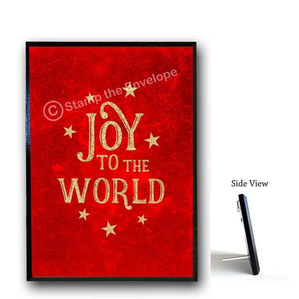 Holiday Wood Sign -  Joy To The World, wood sign, 5x7 black wood with stand