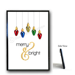 Holiday Wood Sign - Merry and Bright, 5x7 black wood plaque with stand