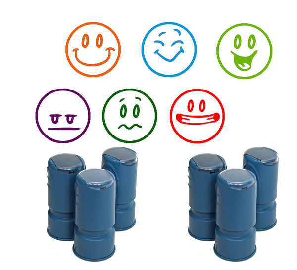 Happy Face Smiley Stamps - Set of 6, Self-inking round stampers