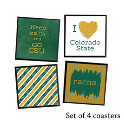 Set of 4 Colorado State University Coasters, quality black wood coasters