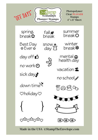 Twenty One LITTLE Days Off PLANNER Stamps Clear Sheet Cling Set