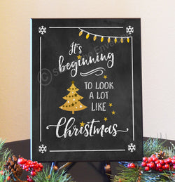 Holiday Wood Sign - It's Beginning to Look Like Christmas, 8.5x11 plaque