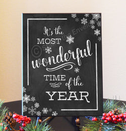 Holiday Wood Sign - It's The Most Wonderful Time of Year, chalkboard-look, 8.5 x 11