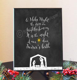 Holiday Wood Sign - Oh Holy Night , Chalkboard-like, 8.5 x 11 wood plaque