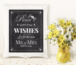 Wedding Chalkboard Print - Please Leave Your Wishes - Guestbook Table,  8x10 Digital Download