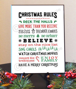 Holiday Wood Sign - Christmas Rules - 8 1/2 x 11 quality black wood plaque