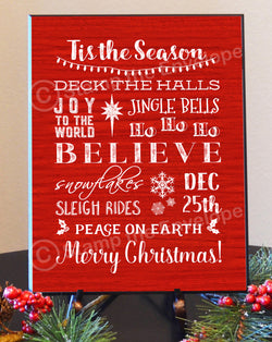 Holiday Wood Sign, Tis The Season Wood Plaque - 8 1/2 x 11""