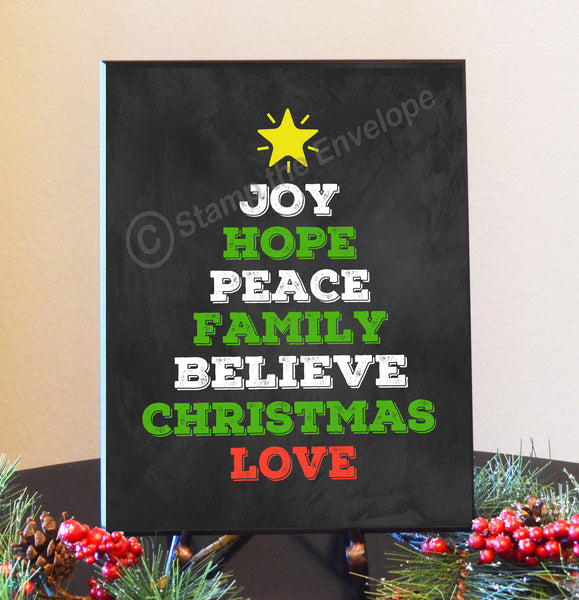 "Holiday Wood Sign - Christmas Words Tree Sign,""Chalkboard"", 8.5 x 11"