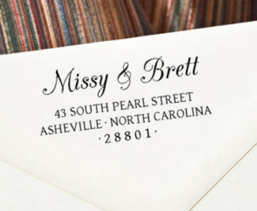 "Custom Self-Inking Address Stamp - ""Missy & Brett"""