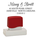 "A Custom Self-Inking Address Stamp ""Missy & Brett"""