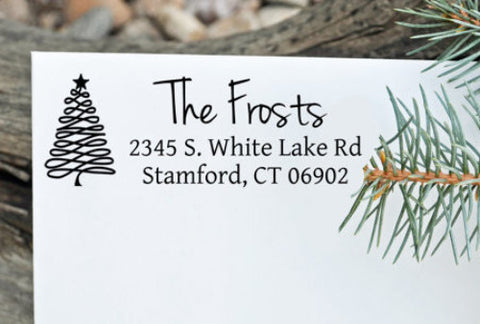 "Holiday Custom Return Address Stamp - ""The Frosts tree"""