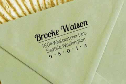 "Custom Self-Inking Return Address Stamp ""Brooke"""