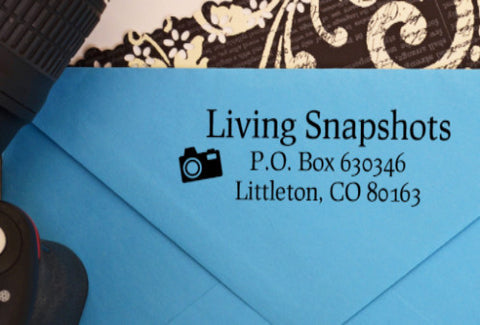 "Custom Business Address Stamp ""Photography"""