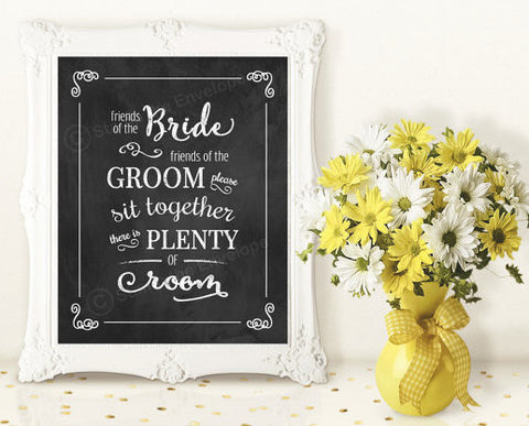 Wedding Chalkboard Print - Friends of the Bride - Digital Download, 8x10