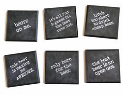 Coasters - Set of 6 Funny Beer Quotes Coasters, black wood coasters