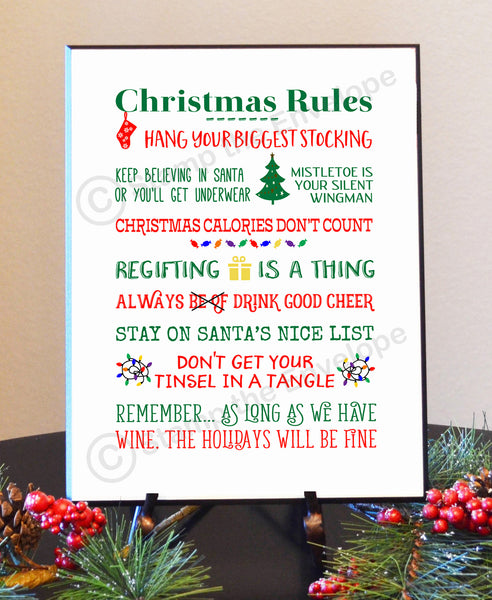 Holiday Wood Sign - Funny Christmas Rules, 8 1/2 x 11 wood plaque