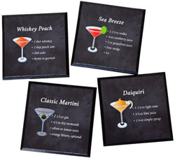 Drink Coasters - 4 cocktail recipe wood coasters