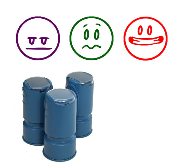 Happy Face Smiley Stamps - Set of 3 NOT-so-happy round self-inking stampers