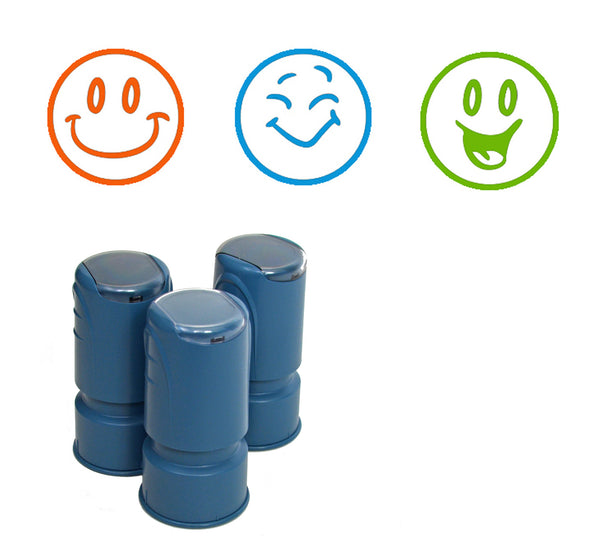Happy Face Smiley Stamps -  Set of 3 self-inking round stampers
