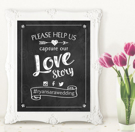 Wedding Chalkboard Print - Tag us on Social Media - 8x10 instant download