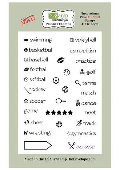 Twenty Nine LITTLE Sports themed PLANNER Clear Sheet Cling Stamp Set