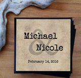 Custom Wedding Coasters - Set of 4 personalized wood coasters