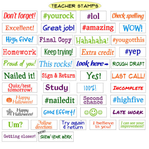 Teacher Stamps - NINE unique teacher stamps, your choice, self-inking