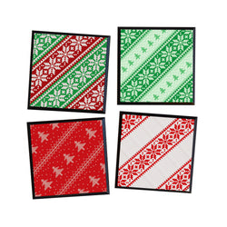 Coasters - Set of 4 Ugly Christmas Sweater Coasters, black wood