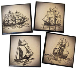Coasters - Set of 4 Gorgeous Unique Vintage Sailboat Coasters, black wood