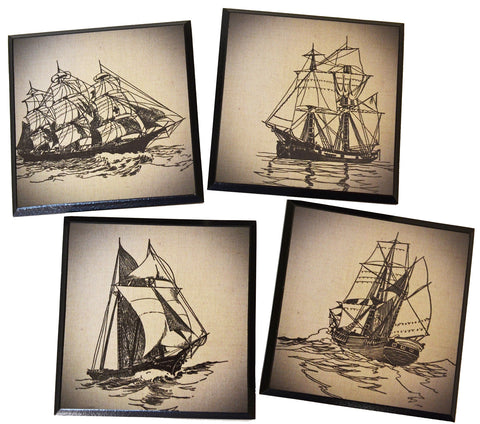 Coasters - Set of 4 Unique Vintage Sailboat Coasters, quality black wood coasters