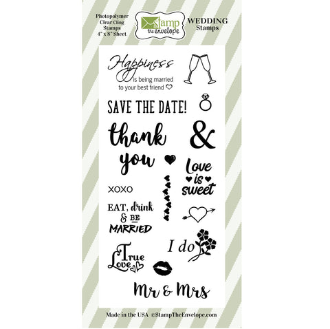 Sixteen WEDDING Stamps Clear Sheet Cling Set