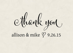 "Thank You Self-Inking Wedding Stamp ""Allison and Mike"""