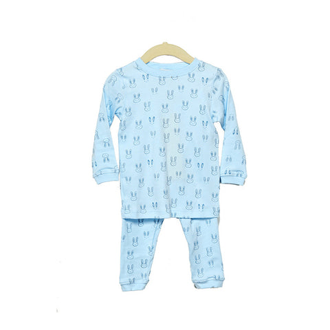 Pima Cotton Blue Bunny Pajama Set