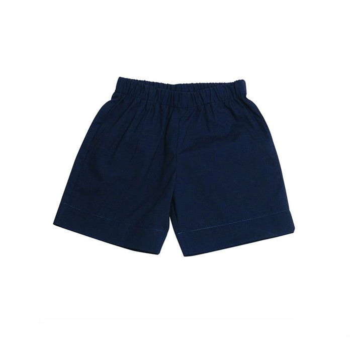Navy Cotton Pull-On Shorts