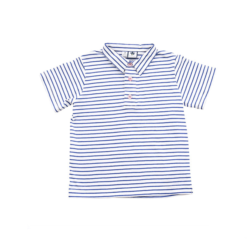 white and navy stripe knit polo